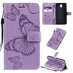 Embossing 3D Butterfly Leather Wallet Case for LG K30 (2019) 5.45 inch - Purple