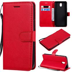 Retro Greek Classic Smooth PU Leather Wallet Phone Case for LG K30 (2019) 5.45 inch - Red
