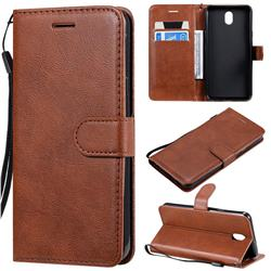 Retro Greek Classic Smooth PU Leather Wallet Phone Case for LG K30 (2019) 5.45 inch - Brown