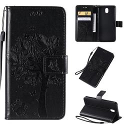 Embossing Butterfly Tree Leather Wallet Case for LG K30 (2019) 5.45 inch - Black