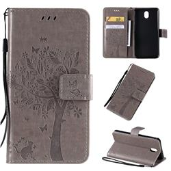 Embossing Butterfly Tree Leather Wallet Case for LG K30 (2019) 5.45 inch - Grey