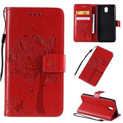 Embossing Butterfly Tree Leather Wallet Case for LG K30 (2019) 5.45 inch - Red