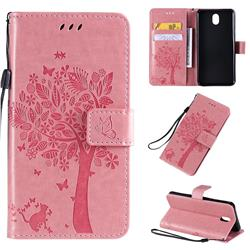 Embossing Butterfly Tree Leather Wallet Case for LG K30 (2019) 5.45 inch - Pink