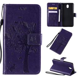 Embossing Butterfly Tree Leather Wallet Case for LG K30 (2019) 5.45 inch - Purple
