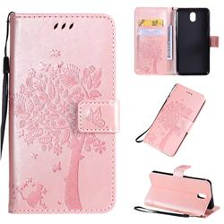 Embossing Butterfly Tree Leather Wallet Case for LG K30 (2019) 5.45 inch - Rose Pink