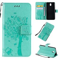Embossing Butterfly Tree Leather Wallet Case for LG K30 (2019) 5.45 inch - Cyan