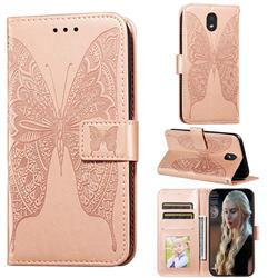 Intricate Embossing Vivid Butterfly Leather Wallet Case for LG K30 (2019) 5.45 inch - Rose Gold