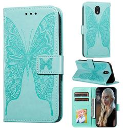 Intricate Embossing Vivid Butterfly Leather Wallet Case for LG K30 (2019) 5.45 inch - Green