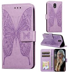 Intricate Embossing Vivid Butterfly Leather Wallet Case for LG K30 (2019) 5.45 inch - Purple