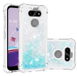 Dynamic Liquid Glitter Sand Quicksand TPU Case for LG K31 - Silver Blue Star