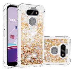 Dynamic Liquid Glitter Sand Quicksand TPU Case for LG K31 - Rose Gold Love Heart
