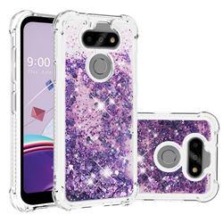 Dynamic Liquid Glitter Sand Quicksand Star TPU Case for LG K31 - Purple