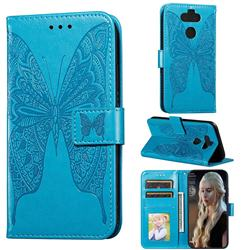 Intricate Embossing Vivid Butterfly Leather Wallet Case for LG K31 - Blue