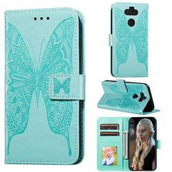 Intricate Embossing Vivid Butterfly Leather Wallet Case for LG K31 - Green