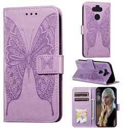 Intricate Embossing Vivid Butterfly Leather Wallet Case for LG K31 - Purple