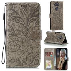 Intricate Embossing Lace Jasmine Flower Leather Wallet Case for LG K31 - Gray
