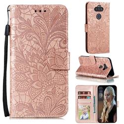 Intricate Embossing Lace Jasmine Flower Leather Wallet Case for LG K31 - Rose Gold
