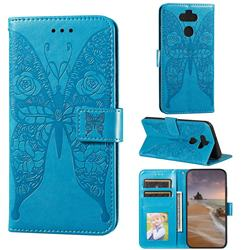 Intricate Embossing Rose Flower Butterfly Leather Wallet Case for LG K31 - Blue