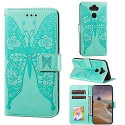 Intricate Embossing Rose Flower Butterfly Leather Wallet Case for LG K31 - Green