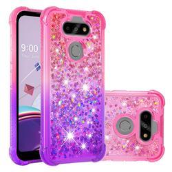 Rainbow Gradient Liquid Glitter Quicksand Sequins Phone Case for LG K31 - Pink Purple