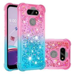 Rainbow Gradient Liquid Glitter Quicksand Sequins Phone Case for LG K31 - Pink Blue