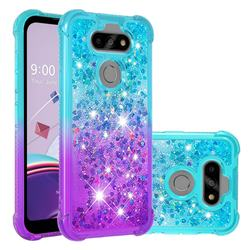 Rainbow Gradient Liquid Glitter Quicksand Sequins Phone Case for LG K31 - Blue Purple