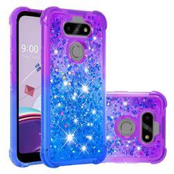 Rainbow Gradient Liquid Glitter Quicksand Sequins Phone Case for LG K31 - Purple Blue