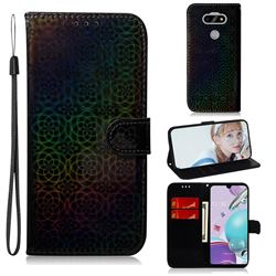 Laser Circle Shining Leather Wallet Phone Case for LG K31 - Black