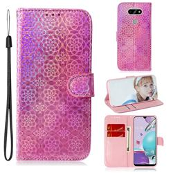 Laser Circle Shining Leather Wallet Phone Case for LG K31 - Pink