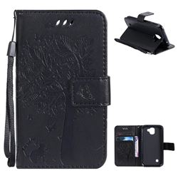Embossing Butterfly Tree Leather Wallet Case for LG K3 (2017) - Black