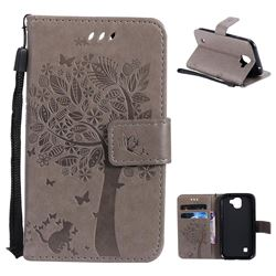 Embossing Butterfly Tree Leather Wallet Case for LG K3 (2017) - Grey