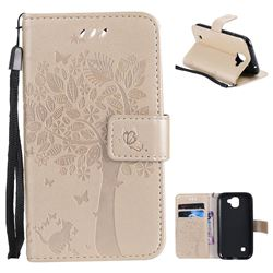 Embossing Butterfly Tree Leather Wallet Case for LG K3 (2017) - Champagne