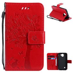 Embossing Butterfly Tree Leather Wallet Case for LG K3 (2017) - Red