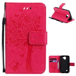 Embossing Butterfly Tree Leather Wallet Case for LG K3 (2017) - Rose