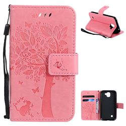 Embossing Butterfly Tree Leather Wallet Case for LG K3 (2017) - Pink
