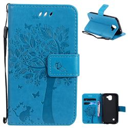 Embossing Butterfly Tree Leather Wallet Case for LG K3 (2017) - Blue