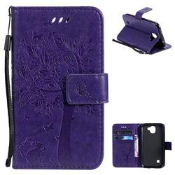 Embossing Butterfly Tree Leather Wallet Case for LG K3 (2017) - Purple