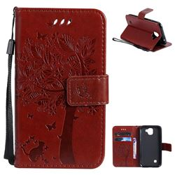 Embossing Butterfly Tree Leather Wallet Case for LG K3 (2017) - Brown