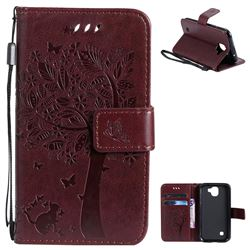 Embossing Butterfly Tree Leather Wallet Case for LG K3 (2017) - Coffee