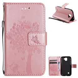 Embossing Butterfly Tree Leather Wallet Case for LG K3 (2017) - Rose Pink