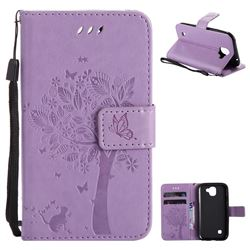 Embossing Butterfly Tree Leather Wallet Case for LG K3 (2017) - Violet
