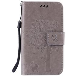 Embossing Butterfly Tree Leather Wallet Case for LG K4 - Grey