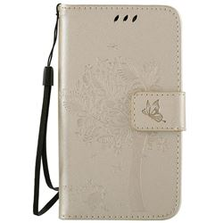 Embossing Butterfly Tree Leather Wallet Case for LG K4 - Champagne