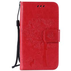 Embossing Butterfly Tree Leather Wallet Case for LG K4 - Red