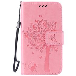 Embossing Butterfly Tree Leather Wallet Case for LG K4 - Pink