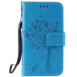 Embossing Butterfly Tree Leather Wallet Case for LG K4 - Blue