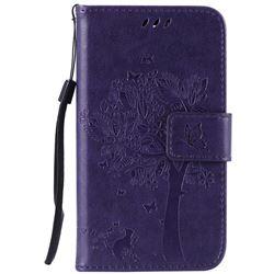 Embossing Butterfly Tree Leather Wallet Case for LG K4 - Purple
