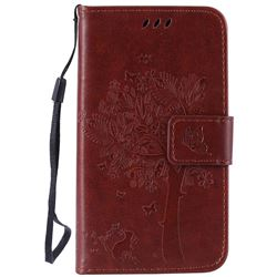 Embossing Butterfly Tree Leather Wallet Case for LG K4 - Brown