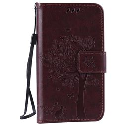 Embossing Butterfly Tree Leather Wallet Case for LG K4 - Coffee