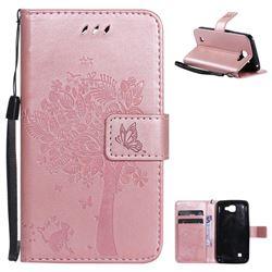 Embossing Butterfly Tree Leather Wallet Case for LG K4 - Rose Pink